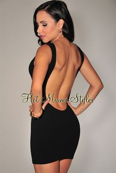 Black Low Back Body-Con Mini Dress Womens clothing clothes hot miami styles hotmiamistyles hotmiamistyles.com sexy club wear evening  clubwear cocktail party kim kardashian dresses