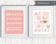 { PRODUCT DESCRIPTION }------  This First Comes Love Prints artwork features the alphabet in shades of coral, pink, and peach, and accented with the I (heart) you in glitter gold. (*Note - the gold glitter is not real glitter. It is a digital effect.*) Please see the additional photos for more color options, including lavender, purple, aqua, and silver glitter. Perfect for your own own childs nursery, playroom, or as a baptism or baby shower gift. ----------{ ARTWORK OPTIONS }…