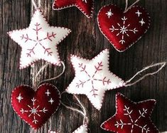 7 Mixed Red and White Nordic Scandi Style Christmas Decorations Hearts Stars Christmas... #christmasdecorideas