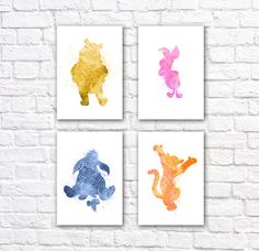 Winnie the Pooh Watercolor Wall Art Poster Set - Nursery Decor - Christmas Gift Idea    This set of four minimalist watercolor posters is printed