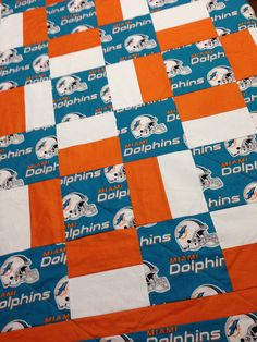 Miami Dolphins Handmade Quilt by RosehillQuilting on Etsy