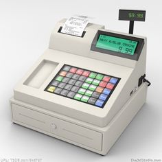 FEATURED 3D MODEL! This photorealistic royalty-free 3D model of modern computer cash register with US money, paper dollars and coins, is available at The3dStudio.com for the lowest price on the internet.