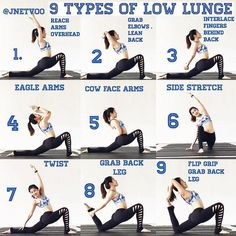 Beautiful Tutorial on Low Lunge Variations by the lovely @jnetvoo ・・・ Bored of your ordinary low lunge ? Check out these 9 different types low lunge. They all have different benefits and stretch or strengthen different parts of the body. #anjaneyasana #lowlunge #yogaig #yogateacher #yogagram #asana yogaforlife#thesweatlife #fitspiration #fitspo #fitsporation #healingjourneyyoga #yogastretch#hipflexorstretch #inflexibleyogis #flex #yogaeverydamnday #yogastrong #progressnotperfection