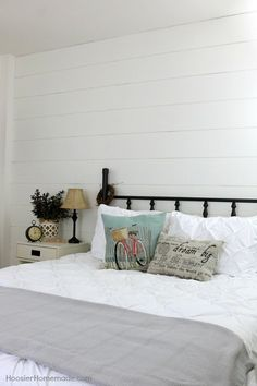 shiplap wall for under 40, bedroom ideas, home decor, outdoor living, painted furniture, tools, wall decor, woodworking projects