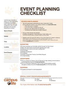 Sample Event Planning Checklist  Birthday Ideas