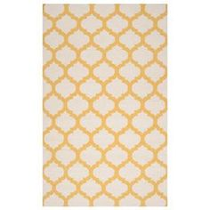 Bring a chic pop of style to your home d�cor with this charming rug, brimming with eye-catching style for homes of every aesthetic.   Product: RugConstruction Material: 100% WoolColor: Yellow and whiteFeatures:  Hand-wovenMade in India Note: Please be aware that actual colors may vary from those shown on your screen. Accent rugs may also not show the entire pattern that the corresponding area rugs have.Cleaning and Care: Blot stains