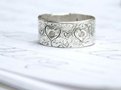 Wide Silver Wedding Band With Shires Eco By Peacesofindigo 189 00 Bands