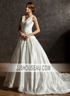 Ball-Gown Ivory V-neck Embroidered Beading Sequins Satin wedding dress