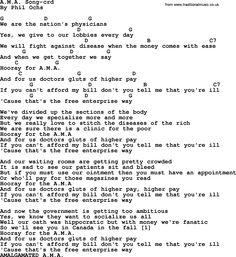 Phil Ochs Song Ama By Lyrics And Chords