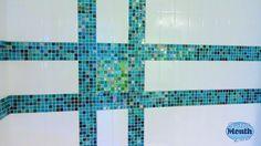 Tic-tac-toe in the shower.  mosaic shower tile, green and blue via Potty Village http://www.pottymouthtours.com/community/tic-tac-toe-shower-tile/