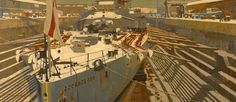 HMS Courageous in Dry Dock at Rosyth, Winter 1919, by Charles Pears.