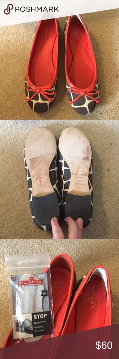 Kate Spade Giraffe Print Flats VGUC. Excellent condition, reposh because they didn't fit me well. Note: they have a genuine leather heel grip/blister saver on the inside of the back of the left shoe (my left foot is smaller than my right so i wanted to make them stay on better/more comfortably). Easy to take out, but since it improves comfort I'll leave in and include the other one for you in case you like it! kate spade Shoes Flats & Loafers