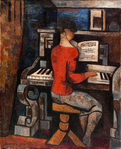 Au piano (1927). Marcel Gromaire (French, 1892-1971). Oil on canvas. Musée d'Art Moderne de la Ville de Paris. Gromaire worked in a Paris studio, his subject matter of rich dark ochers and browns in his paintings in an ordered wealth of textural sensation when transferring the reality of his studio and its light and contents, onto his canvases. Gromaire used his studio as a standard, a filter; it was more than just a place to paint.