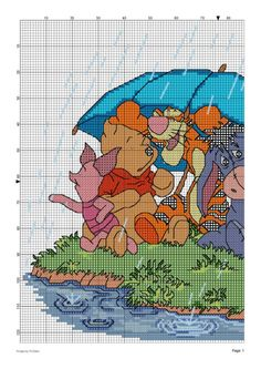 Winnie the Pooh & Friends under Umbrella 2