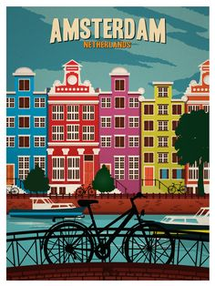 Vintage Amsterdam Poster by IdeaStorm Media