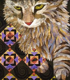 """❤ =^..^= ❤ Janet Fogg's fabulous quilt """"Kitty Corner"""" closeup; you can also see some of the quilting."""