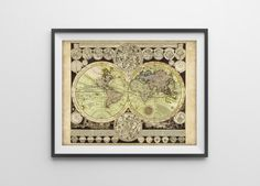18th Century Astronomical World Map Reproduction by BySamantha, $10.00