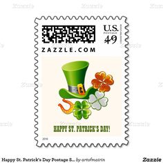 Happy St. Patrick's Day. Irish Lucky Charms St. Patrick's Day Postage Stamps. Matching cards, gifts and other products available in the Holidays/St.Patrick´s Day Category of the artofmairin store at zazzle.com