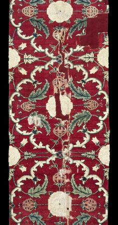 """[Detail] A fine Mughal """"Lattice and Blossom"""" pashmina Carpet Fragment  Northern India, Kashmir or Lahore, second half of 17th Century"""