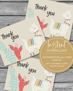 Printable Thank You Card - Boho Llama Theme - 5.5 x 4.25 Free Baby Shower Printables, Baby Shower Activities, Baby Shower Games, Shower Tips, Shower Ideas, Baby Shower Hostess Gifts, Kids Bubbles, Printable Thank You Cards, Relaxation Gifts