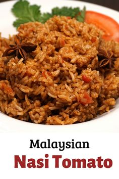 Nasi Tomato Rice Recipe - Basmati Rice flavored with tomato, ginger, shallots and garlic, a spice mix with cinnamon and star anise and creamy coconut milk Malaysian Cuisine, Malaysian Food, Malaysian Recipes, Malaysian Curry, Rice Recipes, Asian Recipes, Healthy Recipes, Ethnic Recipes, Indonesian Recipes