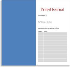 My Life All in One Place: Travel Journal insert for the Midori Traveler's Notebook to download and print