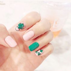 Hot selling fashion Cactus pattern fake nails Japanese cream pure color cute false nails with glue lady full nail tips by Comebackshop on Etsy Cute Nail Art, Cute Acrylic Nails, Glue On Nails, Cute Nails, Pretty Nails, My Nails, Nagel Hacks, Nails For Kids, Nagel Gel