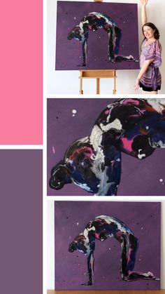 'Splatter Cat' is a predominantly purple resin and acrylic figure painting on a very large canvas. This yoga art depicts a yogi in cat pose or from the cat cow sequence Resin Paintings, Cat Pose, Yoga Art, Large Canvas, Yoga Retreat, Figure Painting, Artsy Fartsy, Figurative, Cow