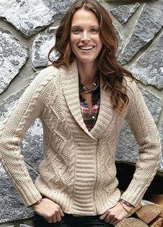 """heritage"" sweater jacket -- eddie bauer (oatmeal, M)"