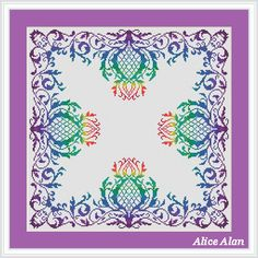 Cross Stitch Pattern Vintage Ornamental Thistle Rainbow monochrome pillow Counted Cross Stitch Pattern/Instant Download Epattern PDF File