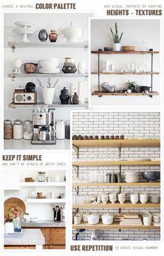 Open Kitchen Shelving: Tips for Styling Open Kitchen shelves The Design Files, Küchen Design, House Design, Interior Design, Interior Decorating, Decorating Ideas, Design Ideas, Kitchen Redo, Kitchen Remodel