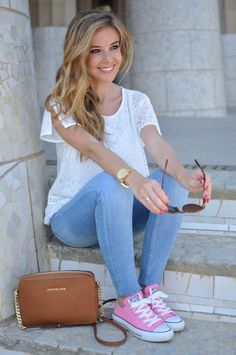 Jeans, pink converse, ethic top and Michael Kors bag