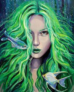 Amatheia mermaid painting mermaid wall art original fantasy painting mermaid art mermaid wall a Fairy Paintings, Fantasy Paintings, Cool Paintings, Fantasy Art, Mermaid Paintings, Mermaid Canvas, Mermaid Wall Art, Mermaid Mermaid, Mermaid Tails