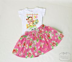 Girl Carousel Skirt  Retro Pink Floral Skirt Set by josiekatstrunk