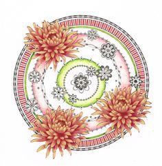 © Mandala met stofjes-chrysanten, tekenpen en kleurpotlood