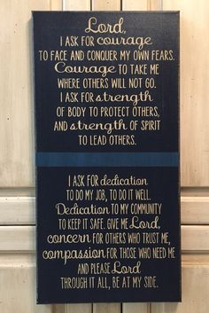 Police Officer's Prayer Quote - 12x24 Canvas Board, LEO Support, Officer's Prayer, Thin Blue Line