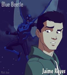 Blue Beetle masked/unmasked credit: Mini-Ann.deviantart.com  My fav character...so funny and hot....why can't he be real!!