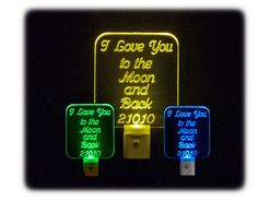 """Personalized Custom #ILoveyoutotheMoon LED Night Light - Unique LED Products #mothersday #Birthddaygift #mom #mother ♦3D Engraved 3/8"""" Clear Acrylic ♦multi-color light bases"""