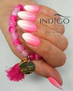Los Flamingos Gel Polish + X-White Gel by Indigo Educator, Paulina Junger #nails #nail #ombre #pink #indigo #indigonails #summernails #springnails #pinknails #sweetnails