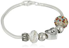 """CHARMED BEADS Sterling Silver Always My Mom Forever Simulated Gemstone and Bead Bracelet, 7.5"""""""