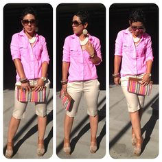 Love this shirt, perhaps in another color.  Beige bermudas, can't go wrong.  I even like the purse.