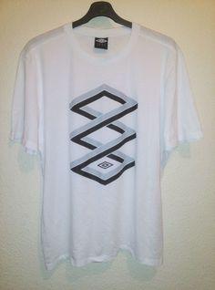 UMBRO Mens White Interlocking Logo Print Crew Neck T Shirt Size XXL 2XL