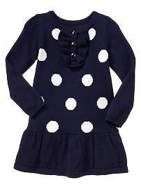 Ruffle dot sweater dress