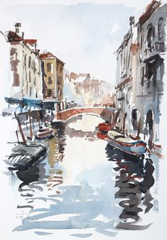 https://flic.kr/p/EdeY1m | Venice-Canal-with-Barges-by-tony-belobrajdic | Arches paper