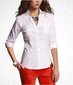 Convertible Sleeve Two-Pocket Essential Shirt