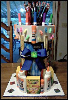 "I had so much fun making a School Supplies ""Cake"" for our special teacher! School Supplies Cake, Diy Crafts For Gifts, Cool Gifts, Teacher Gifts, Back To School, Appreciation, Organization, Gift Ideas, Cakes"