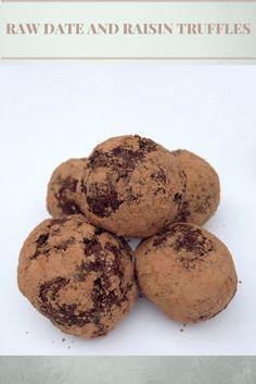 Raw vegan date and raisin truffles, using Bioglan cacao powder, free from Tesco Orchard