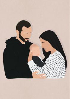 Family Illustration, Portrait Illustration, Digital Illustration, Flat Illustration, Digital Portrait, Portrait Art, Digital Art, Cover Wattpad, Family Drawing