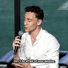 """Don't be afraid of your passion."" —Tom Hiddleston (Gif-set by cheers-mrhiddleston http://cheers-mrhiddleston.tumblr.com/post/151476088077)"