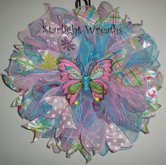 Pink Butterfly Ruffled Mesh Wreath Spring by StarlightWreaths